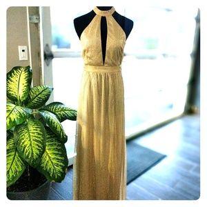 Lulu's Be A Star Gold Halter Maxi Dress